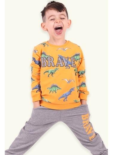 Breeze Erkek Çocuk Eşofman Takımı Dinozorlu Sarı (3 Yaş) Sarı
